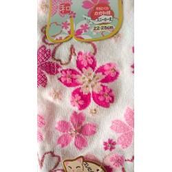 Chaussette aux motifs japonais rose sur fond blanc