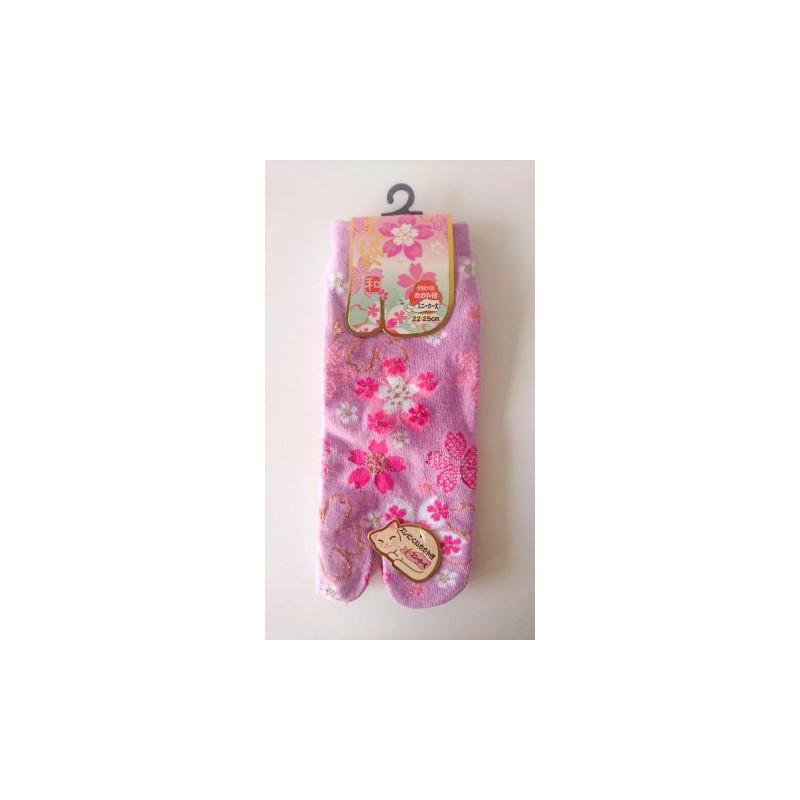 Chaussette japonaise tabi rose foncé aux couleurs des cerisiers en fleurs