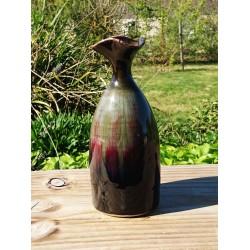 Vase en grès flammé de chine aux reflets rouges extérieur