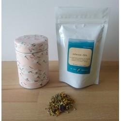 Sachet de thé japonais et sa boite rose délicat