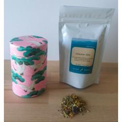 thé japonais en sachet de 100gr et boite en papier chiyogami