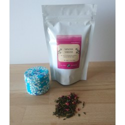 Thé et boite au décor de sakura turquoise