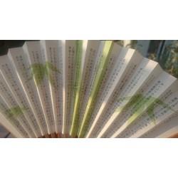 Feuilles de bambou et calligraphie japonaise