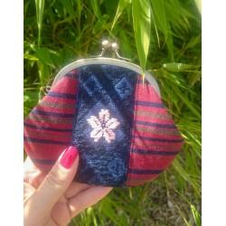 Porte monnaie gamaguchi brodé fleur de sakura