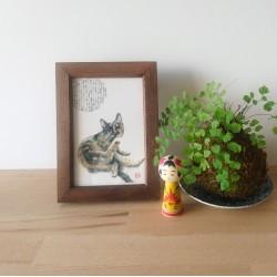 chat à sa toilette peinture de Keiko Nogami.