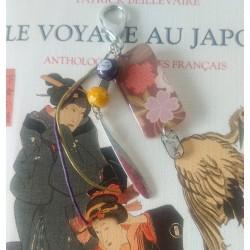 motifs délicats de kimono pour ce porte-clef fait-main fabriqué en France.