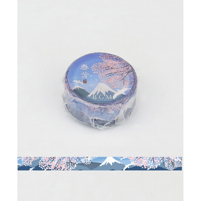 Washi tape Mount fuji under the cherry blossoms BGM Japanese stationery
