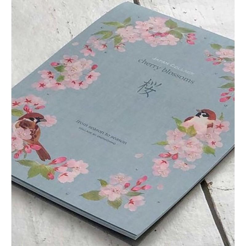 papier à lettre japonais sakura et oiseau