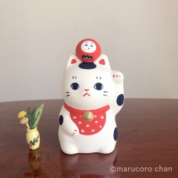 Chat porte bonheur artisanat japonais Marucoro chan.