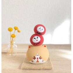 Céramique artisanal japonaise de Marucoro original avec chat et daruma