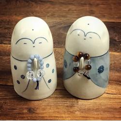 Jizô et chapelet artisan Jizodou de Kyoto Japon porcelaine.