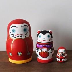 Daruma et inu hariko poupée venant du Japon fait-main à Kyoto rare