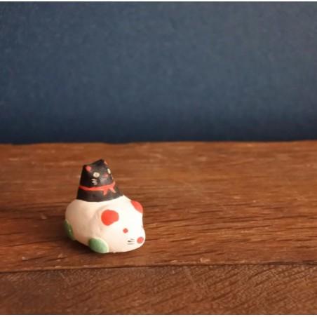 Chat conduisant une souris porcelaine artisanat japonais de Kyoto Kimura and co