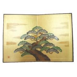 Byobu au pin à trois étages paravent poupée japonaise artisanat import