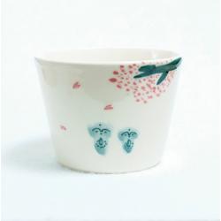 Jizô sous les sakura , bol à thé artisanat de Kyoto