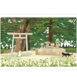 Carte postale Tabineko papeterie japonaise été