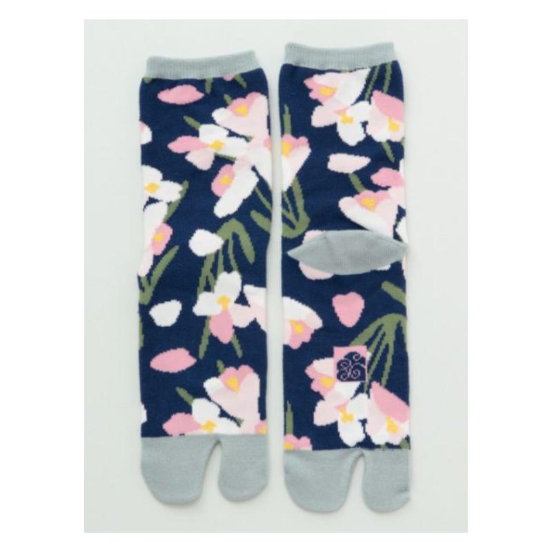Japanese tabi cyclamen socks navy
