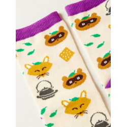 Japanese tanuki and white fox socks