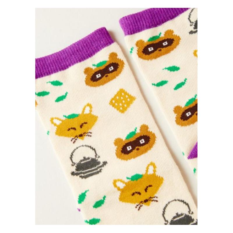 Japanese tanuki and white fox socks