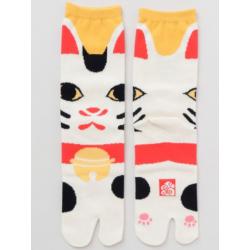 chaussettes tabi japonaises manekineko marque Kaya fait main au Japon