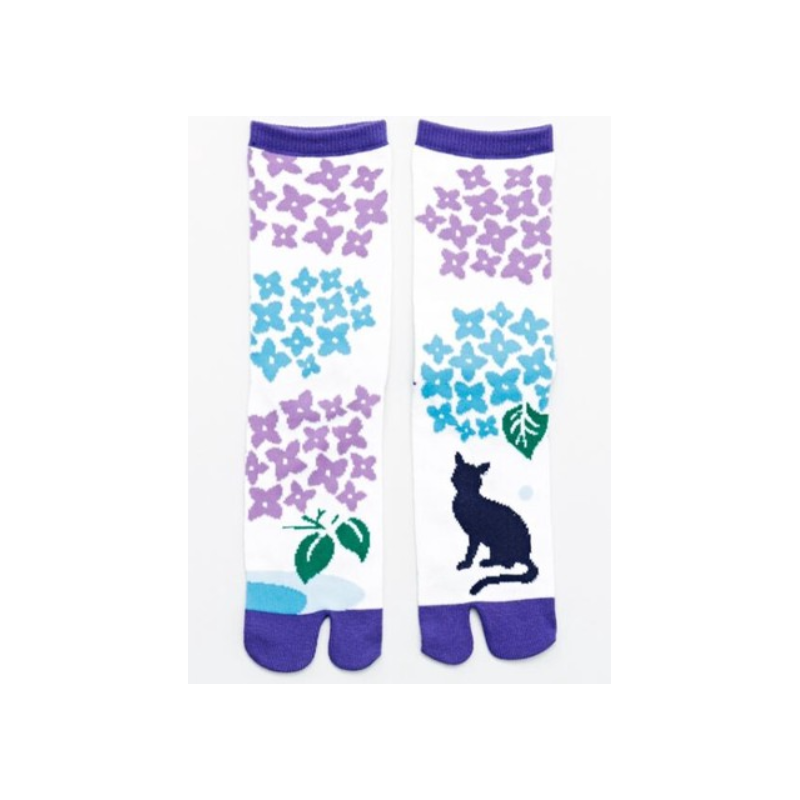 Chaussettes japonaises tabi hortensia Kaya fait main à Nara Japon
