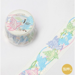 Washi tape birds and lace