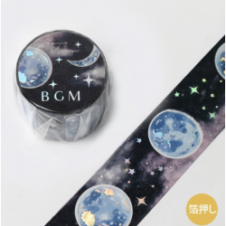 Washi tape Stamping space Moon BGM