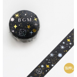 Starry night black washi tape BGM