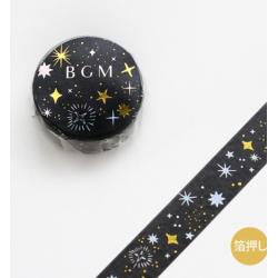 Washi tape noir nuit étoilées BGM
