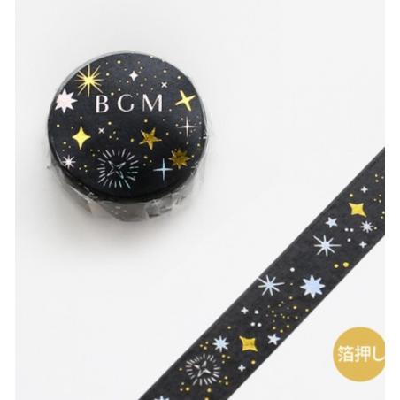 Starry night black washi tape BGM