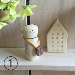 Chat et son sca fait main en ceramique au Japon  à Kyoto par Jizodou