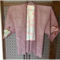 Haori shibori rouge bordeaux et fleurs de Kyoto kimono