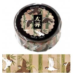 Washi tape Yuzen oiseaux volant dans les bambous World Craft