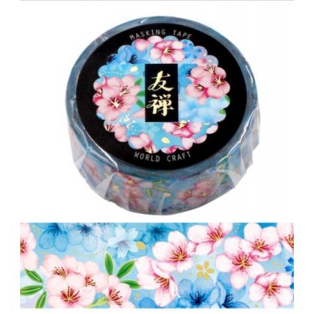 Washi tape Yuzen bleu World Craft