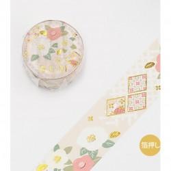 Washi tape Style japonais Camelia or tsubaki BGM papeterie japonaise