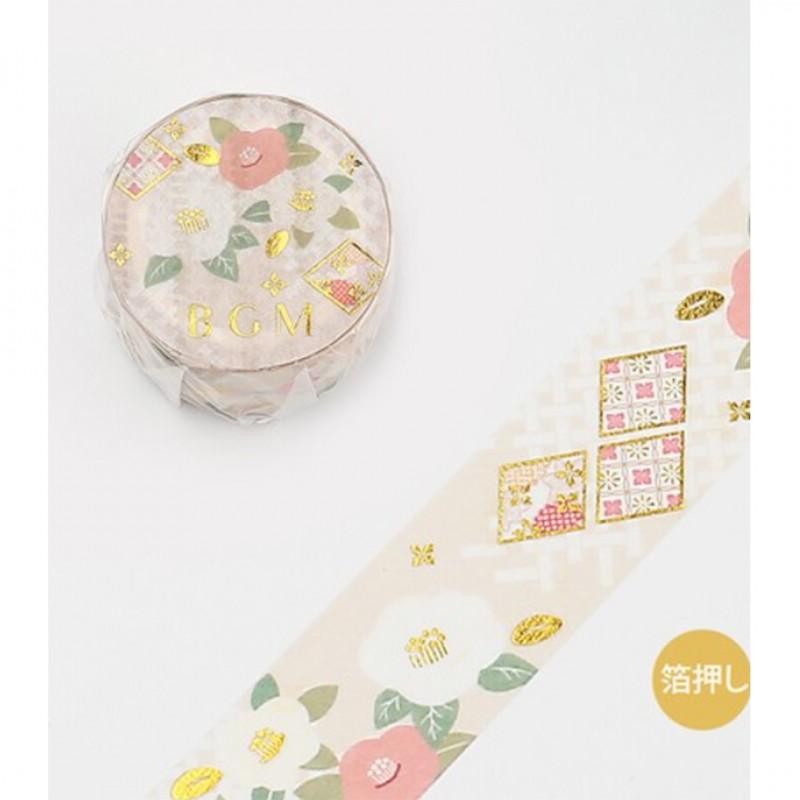 Japanese style Golden camelia Washi Tape