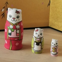 Hinamatsuri cats matriyoshka 3 dolls japanese handmade in Kyoto Kimura and co