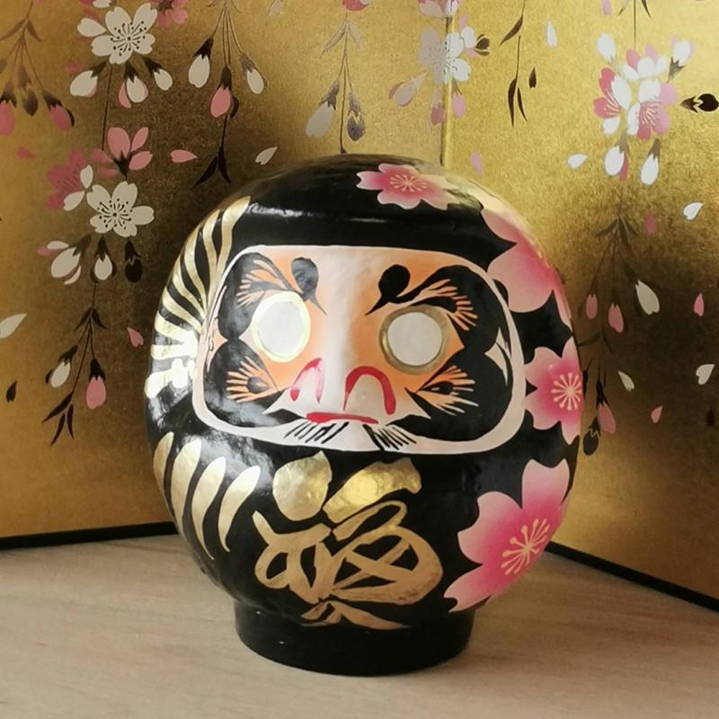 Miyabi Daruma Sakura noir Imai Daruma Naya artisanat japonais de Gunma