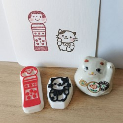 Set mingei 1, 2 tampons encreurs, Achahanko artisanat japonais fait main