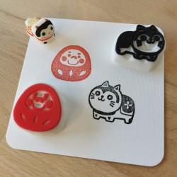 Set mingei 3, 2 tampons encreurs, Achahanko fait main  artisanat japonais