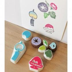 Set summer 2, 7 tampons encreurs, Achahanko fait main artisanat japonais