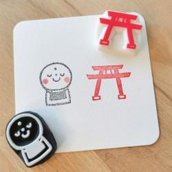 Set Jizou et Torii, 2 tampons encreurs, Achahanko fait-main artisanat japonais