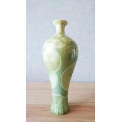Vase cristallisé kaki