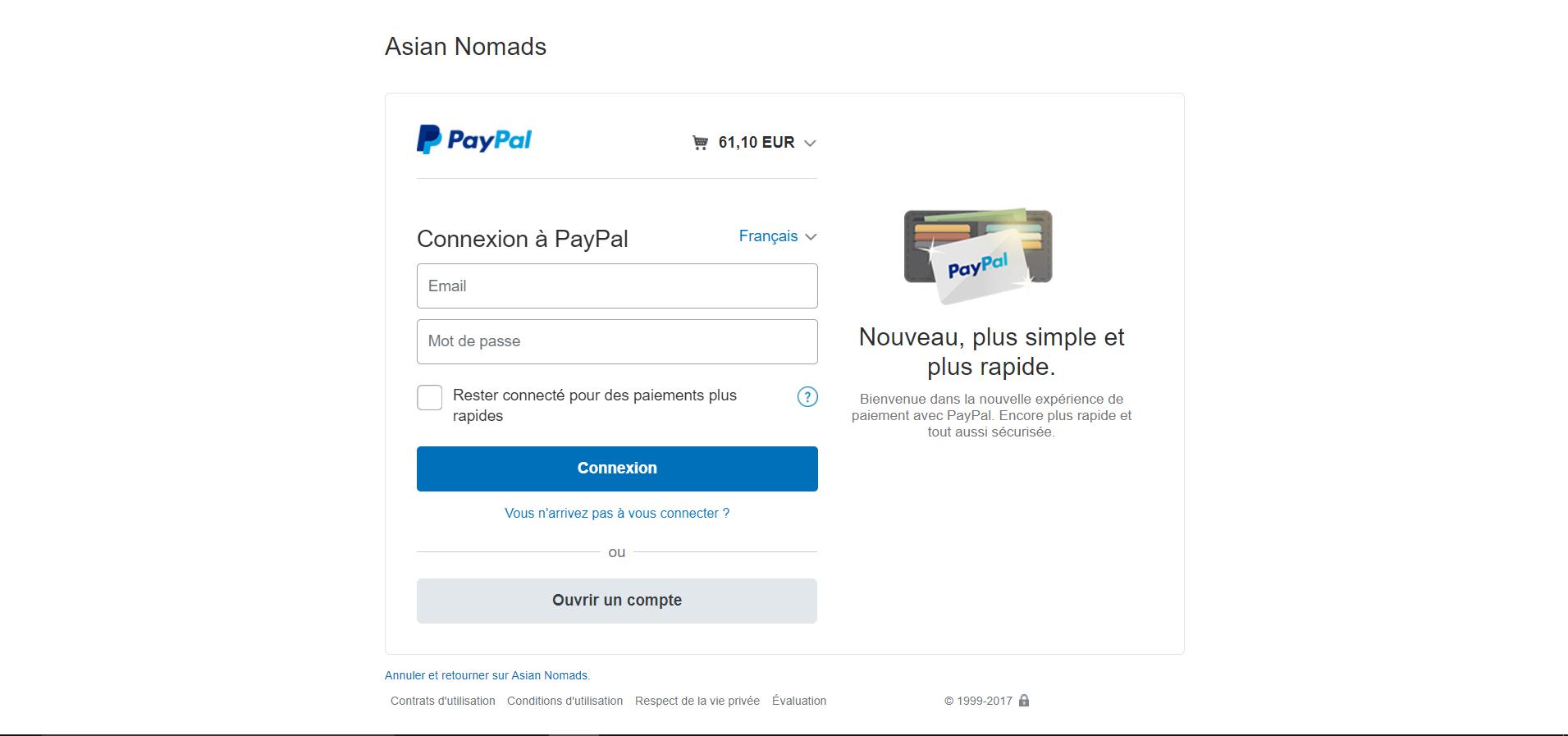 Paypal avec compte