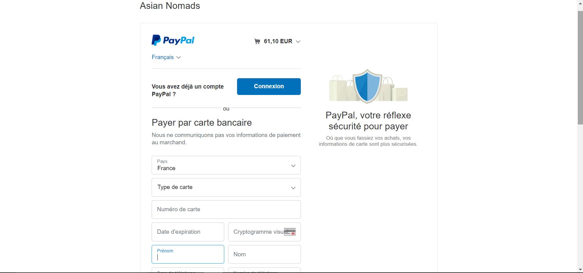 Paypal sans création de compte