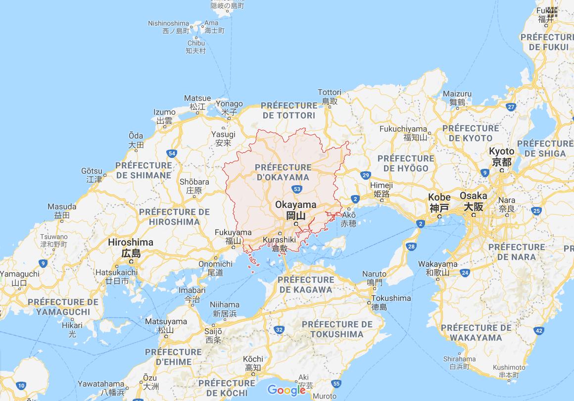 Carte du Japon, île Honshu, préfecture Okayama